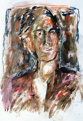 Gerhard Elsner1930-2017 Bildnis eines Mannes Acryl Männerporträt Junger Mann