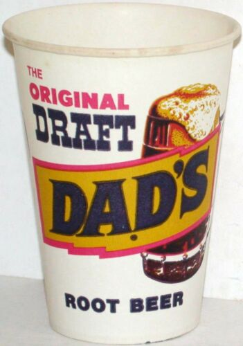 Vintage paper cups DADS ROOT BEER Lot of 2 different unused new old stock exc++