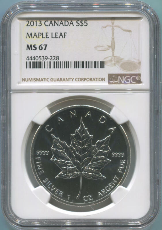 2013 Canada $5 Silver Maple Leaf, NGC MS67