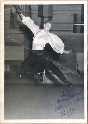 1940s Bobby Maxon Figure Ice Skater Dancer Leaping Jump Signed Autographed Photo