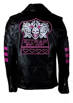 Hitman Halloween Costume (WWE WRESTLER HITMAN BRET HART SKULL EMBROIDERY LEATHER JACKET HALLOWEEN)