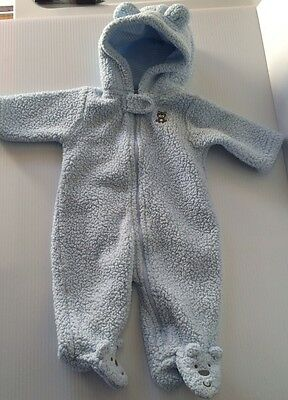Carters Boys Blue Fleece Footed Jacket/Cover Up - Sz 3 Mo Boys Blue Cover Up