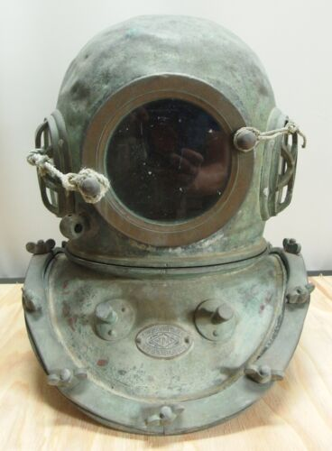 JAPANESE ANTIQUE TOA SENSUIKI DIVING HELMET with NAMEPLATE for ORNAMENT RARE