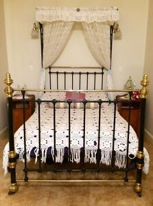 Late 1800s Brass and Cast Iron Half Tester Double Bed Gosnells Gosnells Area Preview