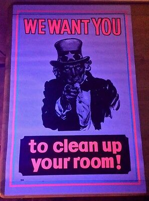 NOS VINTAGE 1970 BLACKLIGHT POSTER UNCLE SAM WANTS YOU CLEAN YOUR ROOM RARE