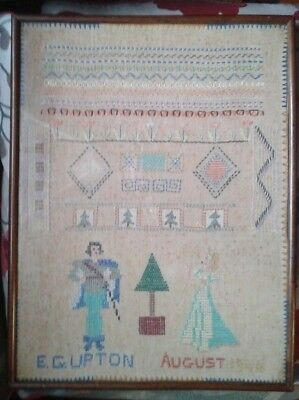ANTIQUE VINTAGE FRAMED NEEDLEPOINT CROSS-STITCH or EMBROIDERY SAMPLER KNIGHT