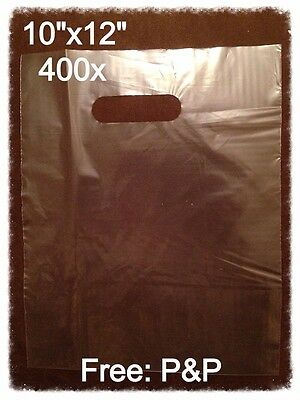 CLEAR HEAVY DUTY PATCH HANDLE CARRIER BAGS 10
