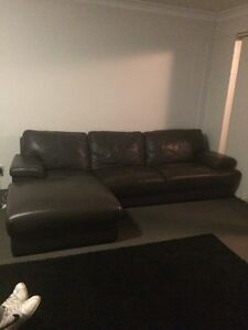 Brown Leather L couch. North Strathfield Canada Bay Area Preview