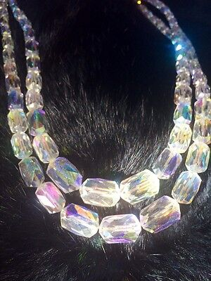 Vintage 1950s Exquisite Necklace Aurora Borealis Crystal AB Choker Glass Beads