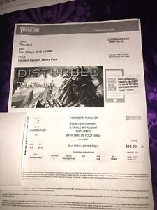 Ticket to sold out disturbed concert Newport Pittwater Area Preview