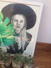 GIRL LEAF GREEN FASHION ILLUSTRATION ARTWORK Lockleys West Torrens Area Preview