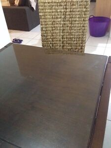 6 seater extendable dining table with glass top and Balinese chairs Warner Pine Rivers Area Preview