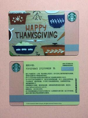 CS1653 2016 China Starbucks coffee Happy Thanksgiving Gift card ¥100 1pc