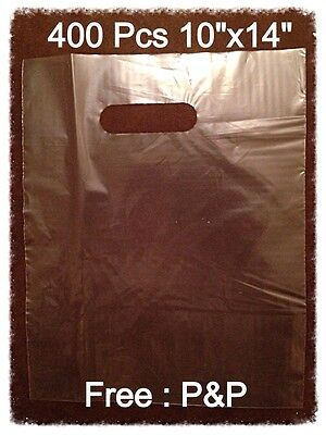 400x CLEAR HEAVY DUTY PATCH HANDLE CARRIER BAGS 10