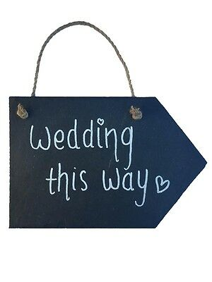 Natural Slate Direction Right Arrow Sign Chalkboard Handmade Notice Wedding - Chalkboard Arrow