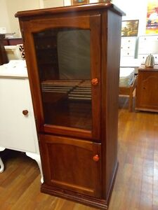 Wooden shelves unit with glass door Sandy Bay Hobart City Preview