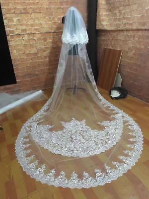 2019 ivory Wedding Veils Bling Rhinestone Cathedral Length Bridal Veil In Stock