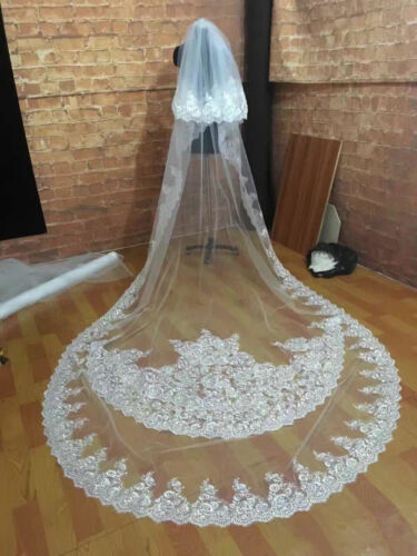 2019 ivory Wedding Veils Bling Rhinestone Cathedral Length Bridal Veil In Stock