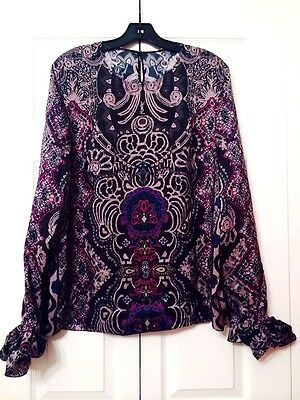 Yves Saint Laurent New With Tags Black Stunning Print Silk Top SZ 46 ( 10 )
