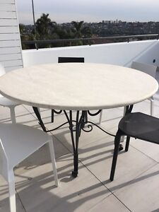Travertine outdoor table on wrought iron legs Dover Heights Eastern Suburbs Preview