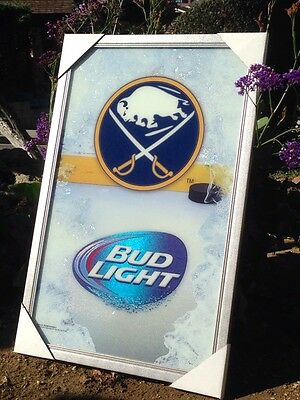 "Bud Light Buffalo Sabres NHL Hockey Beer Bar Mirror Frame  ""New"""
