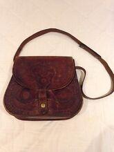 Vintage tooled dark leather hand bag Indooroopilly Brisbane South West Preview