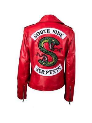 Riverdale Schlange Southside Schlangen Kostüm Rot Lederjacke für - Damen Biker Kostüm