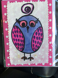 Hand drawn Owl blank greeting cards Penguin Central Coast Preview
