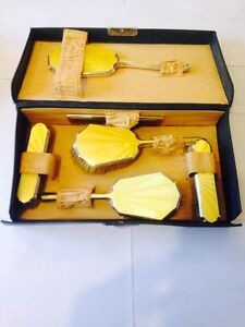 ANTIQUE 1935 SILVER JUBILEE SOLID SILVER YELLOW ENAMEL VANITY DRESSING TABLE SET