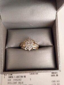 Authentic 10k Ladies Diamond Encrusted Engagement Ring