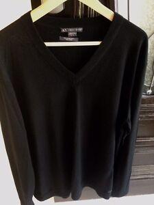Authentic ARMANI EXCHANGE Mens V-Neck Black Sweater Sz 2XL RRP $120 Pendle Hill Parramatta Area Preview