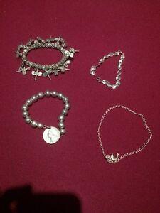 Sterling silver set - bracelet X 3 and anklet X 1 Beeliar Cockburn Area Preview