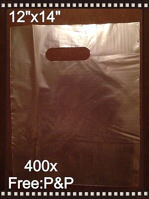 400x PIECE CLEAR PATCH HANDLE CARRIER BAGS (12