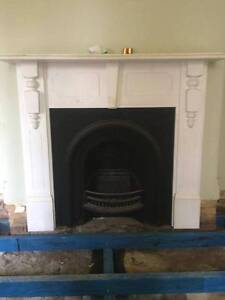 2 x Cast Iron fireplace and timber surround mantle (pair) Willoughby Willoughby Area Preview