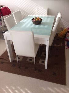 *** Moving Sale*** Table with glass and 6 leather chairs Mosman Mosman Area Preview