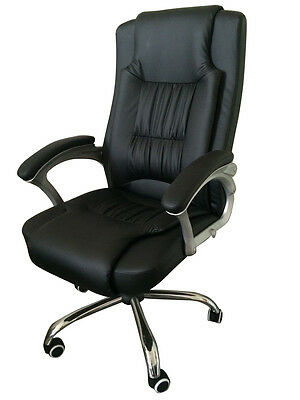 High Back Leather Executive Office Desk Task Computer Chair w/Metal Base 3056 on Rummage