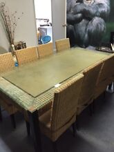 WICKER OUTDOOR DINING SET CHAIRS & TABLE RATTAN FURNITURE 9 PIECES Cecil Hills Liverpool Area Preview