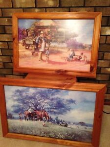 2x Australian prints on wood by D'Arcy W Doyle solid pine frames Grange Charles Sturt Area Preview