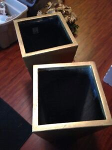 2 gold planters - wedding decorations