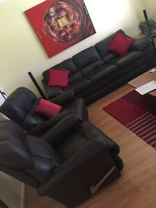 Lazy-Boy Leather Recliner Chairs x 2 plus 3 seater Couch Heathridge Joondalup Area Preview