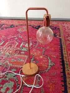 Freedom rose gold copper lamp with timber base. Newport Pittwater Area Preview