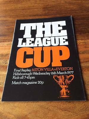 ASTON VILLA V EVERTON 1977 LEAGUE CUP FINAL REPLAY PROGRAMME MINT FREE POSTAGE