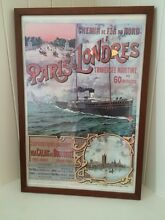 London to Paris vintage poster, professionally framed Greenwich Lane Cove Area Preview