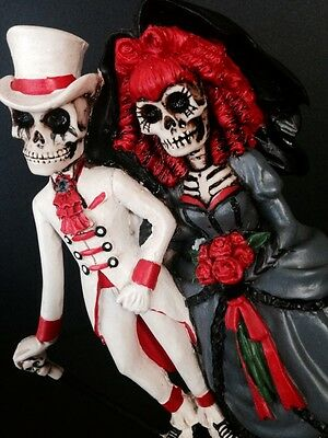 Wedding Skeleton Cake Topper-Groom And Bride-Red Halloween Party-Statue Gothic