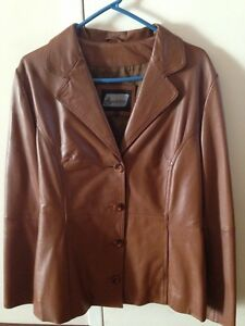 Ladies 100% Italian Tan Leather Jacket Yokine Stirling Area Preview