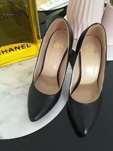 Christian Louboutin black heels leather red sole size 36 Revesby Bankstown Area Preview