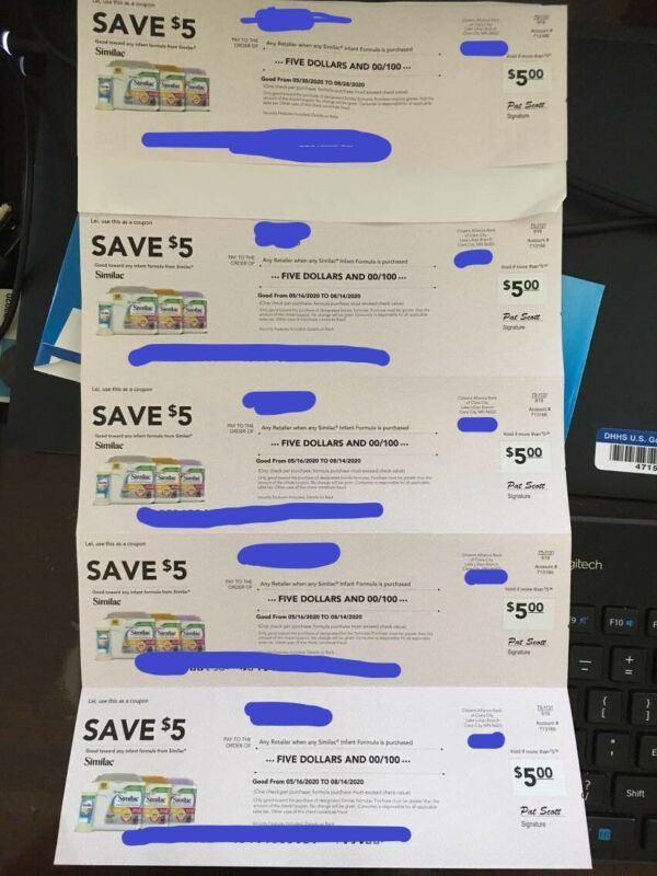 Similac Coupons/Checks For Any Infant and Toddler Formula $25 EXP 8/14/20