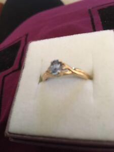 Gold Ring 2 Dimonds 1 Light Blue Aquamarine Stone. Dalyellup Capel Area Preview