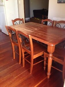 Timber & wrought iron dining table & chairs Camden South Camden Area Preview
