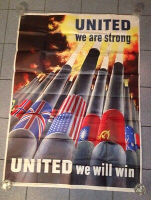 Original WWII United We Are Strong, United We Will Win Poster Large 40x56 WW2